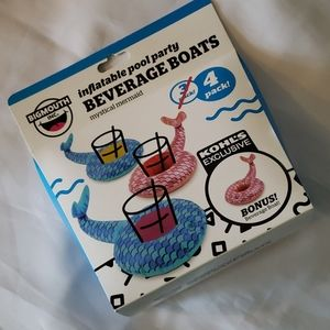 NWT! 4 Mermaid Tail Floating Swim Beverage Boats